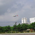城南島からの飛行機見学
