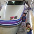 乗ってきた電車と記念撮影